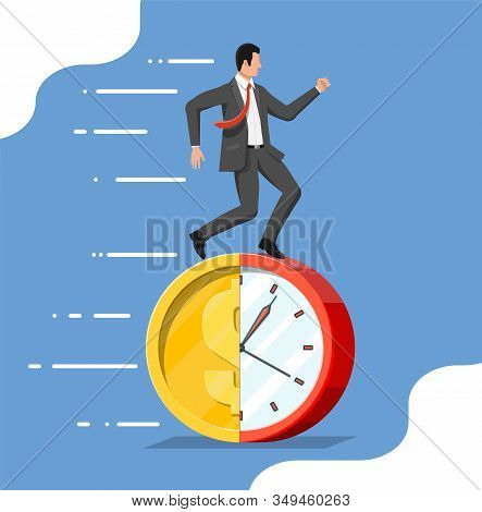 Businessman Is Running On Dollar Coin Clock. Clock And Golden Coin. Annual Revenue, Financial Invest