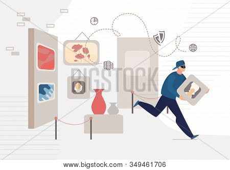History Museum Man Thief Stealing Picture Crime Scene. Art Gallery Interior. Male Robber Character I