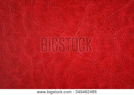 Red Leather Factory Texture Background. Texture Of Red Fabric
