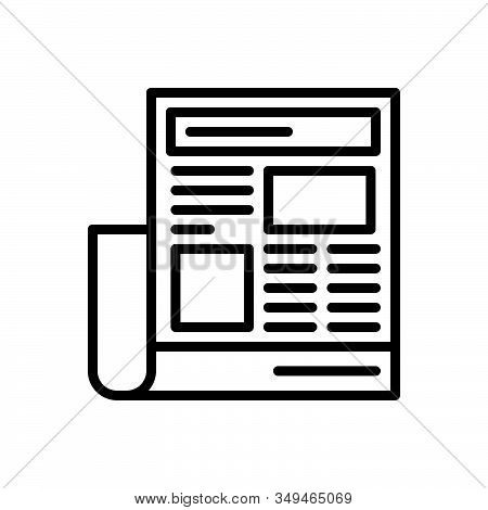 Black Line Icon For Newspaper-ads Newspaper Paper Opportunity Magazine Interview Document Classified