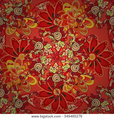 Cute Fabric Pattern. Doodle Flower. Flat Flower Elements Design. Zentangle Abstract Flowers. Colour