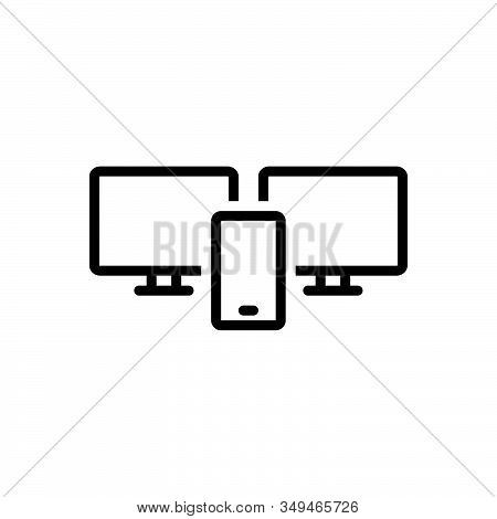 Black Line Icon For Adaptive-interface Adaptive App Application Development Interface Internet Monit