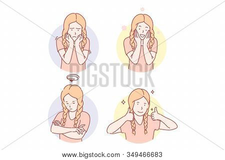 Girls Emotional Facial Expressions Set Concept. Frightened Girl Feels Grief. Depressed Kid Is Offend
