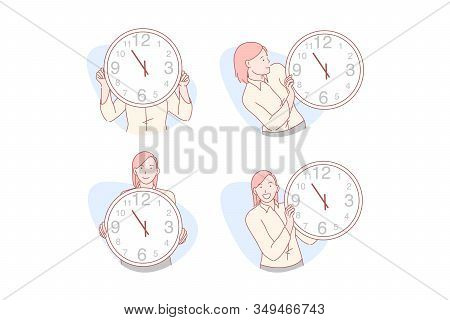 Time Management Set Concept. Young Businesswoman Uses Time Management In Everyday Life. Cheerful Gir