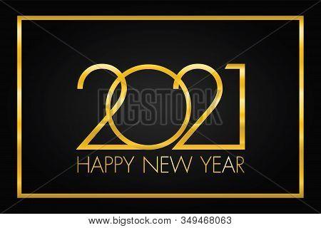 2021 Happy New Year Elegant Design - Vector Illustration Of Golden 2021 Logo Numbers On Balck Backgr