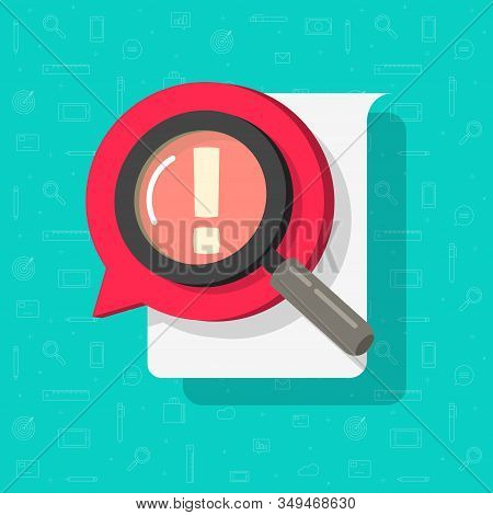 Identify Document File Search Or Risk Comment Censor In Online Chat Bubble Speech Icon Vector Flat C