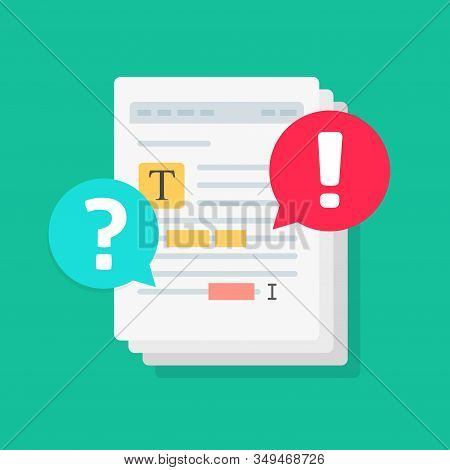 Text Document File Chat Commenting Or Editing Docs Online Vector Flat Cartoon Illustration, Shared F