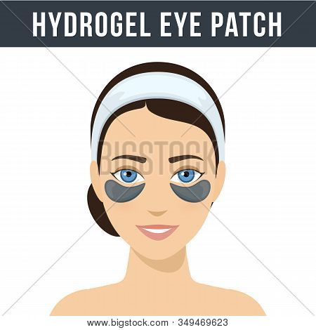 Black Hydrogel Eye Patches. Cosmetic Collagen Eye Patches. Eye Patches For Beauty And Skin Care. Vec