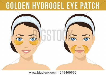 Golden Hydrogel Eye Patches. Cosmetic Collagen Eye Patches Against Facial Wrinkles. Eye Patches For