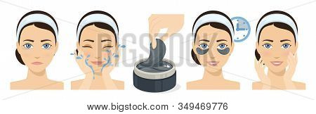 Process Of Applying And Using Hydrogel Eye Patches. Cosmetic Collagen Eye Patches. Black Eye Patches