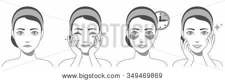 Process Of Applying And Using Hydrogel Eye Patches. Cosmetic Collagen Eye Patches. Black And White I