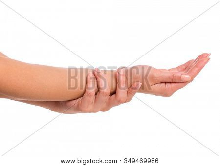 Female empty hands holding - palm up, isolated on white background. Beautiful hands of woman with copy space.