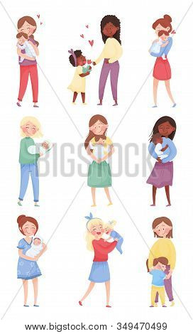 Happy Mom And Her Kid Vector Illustrations Set. Young Mother Holding Her Baby In Arms And Embracing