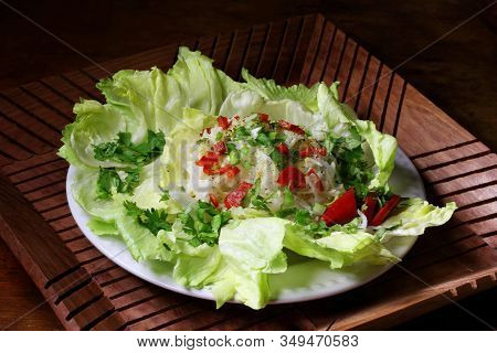 Rice With Vegetables. Alu Pyaj Chanachur With Rice And Mango Pickles
