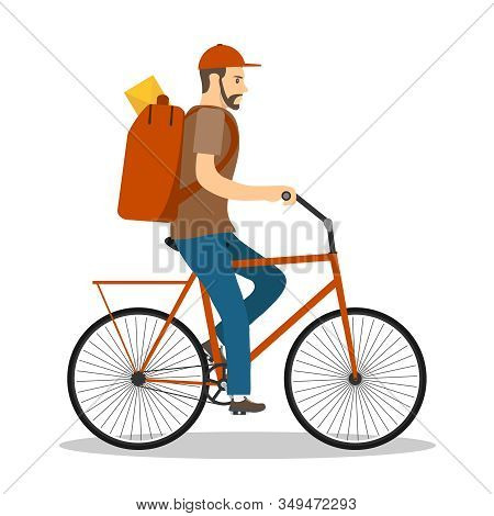 Pochtalen Cycling. The Postman Carries Mail On A Bicycle. Vector Illustration Of A Postman Isolated