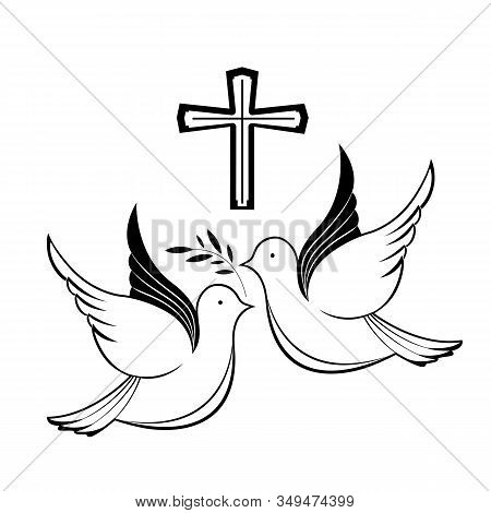 Couple Of Pigeons And A Cross. Biblical Symbols. Easter Greeting Card.