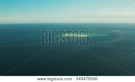 Tropical Island And Sandy Beach With Tourists Surrounded By Coral Reef And Blue Sea, Aerial View. Sa