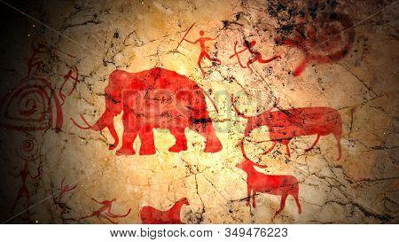 Primitive Ancient Art With Bulls And Elks