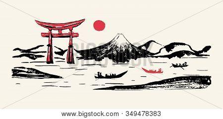 Japan Panorama Vector Ink Brush Calligraphy Background. Japanese Mountain Fuji Mount, Torii Gates An