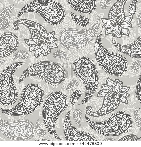 Paisley Pattern Background, Vector Seamless Floral Ornament For Textile Or Wallpaper Design. Indian