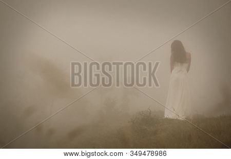 Young Bride With Long Hair In Long White Wedding Dress Standing In Foggy Misty Landscape. Blur Disce