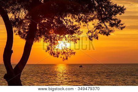 Sunset On The Adriatic Sea At Petrcane Village Near Zadar Town In Croatia, Europe.