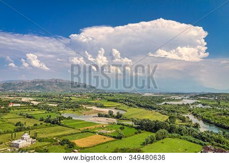 Landscape With River Basin And Mountain Range On Background Near Shkoder Town, Albania, Europe.