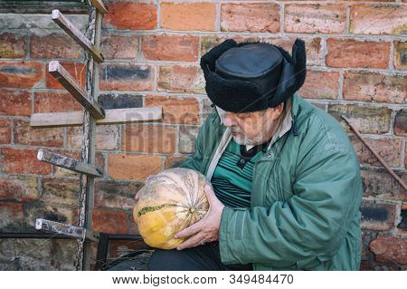Outdoor Portrait Of A Bearded Ukrainian Peasant Taking Pumpkin In The Hands And Looking At It While