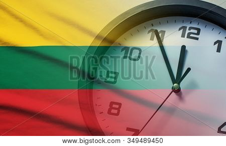 Composite Image Of The Lithuania Flag And Clock