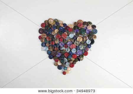 Heart Shaped With Retro Buttons Valentine's Day