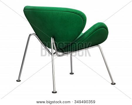 Mid-century Green Fabric Chair With Chromium Legs. 3D Render.