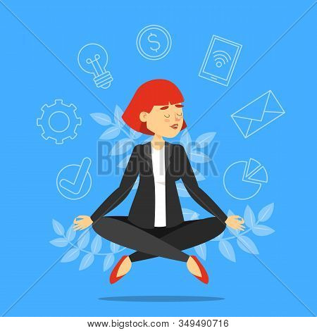 Businesswoman In Lotus Pose Meditating Vector Isolated