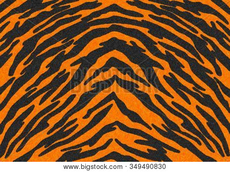 The Black-orange Tiger Stripes Fur Texture, Carpet Animal Skin Background, Black And Orange Theme Co