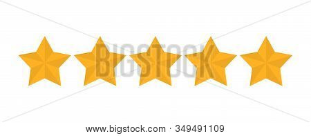 Star Rating Vector Isolated. Golden Star Shape. Quality