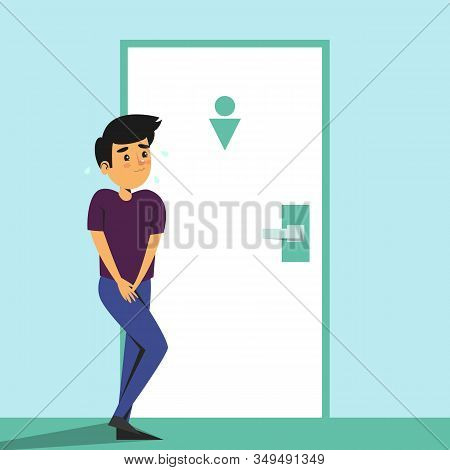 Boy Standing At The Toilet Door And Want To Pee. Child With Urinating Problem. Wc Door Is Locked. Fu