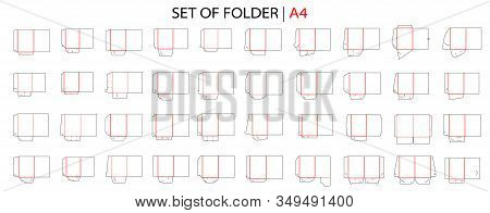 Folder Set Tempale With Gusset Die Cut Stamp. Empty Folder Shablon Template For A4 Documents And Bus