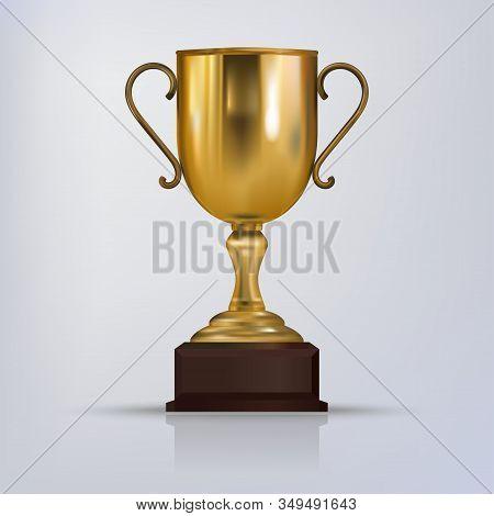 Gold Trophy Cup. Golden Winner Trophy. Vector