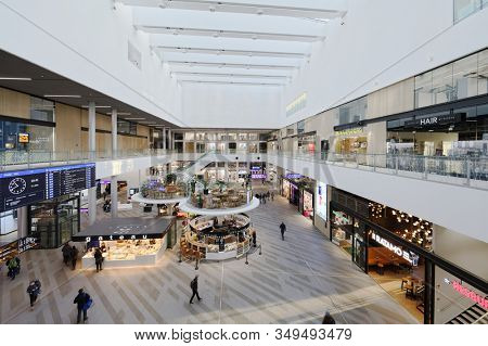 Helsinki, Finland - January 5, 2020: People in the shopping mall of Tripla. Opened on October 17, 2019, Tripla is the sixth-largest shopping mall in Finland