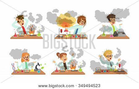 Collection Of Boy And Girls Scientist After Failed Experiments, Schoolchildren Experimenting In Scie