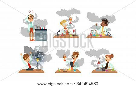 Collection Of Boy And Girls Scientist After Failed Chemical And Physics Experiments, Schoolchildren