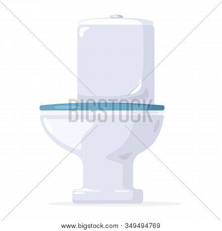 White Ceramic Shiny Flush Toilet Bowl, Wc Pan, Water-closet. Bathroom, Lavatory, Cloakroom, Restroom