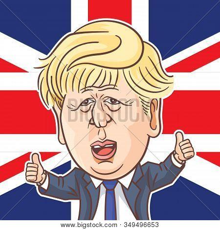 London, Uk, 07 Feb, 2020, Boris Johnson Showing Thumbs Up With Uk Flag Background. Boris Johnson Vec