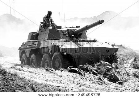 Bloemfontein, South Africa - November 1, 2008: A Rooikat Armoured Reconnaissance Vehicle At An Open