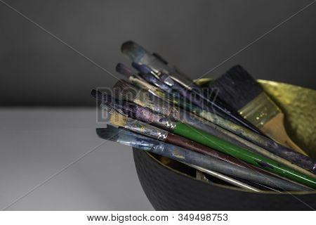 Colourful Paint Bruches. Art Concept. Painting Process