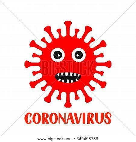 Corona Virus Cartoon Character And Lettering Isolated On White Background. Pathogen Respiratory Coro