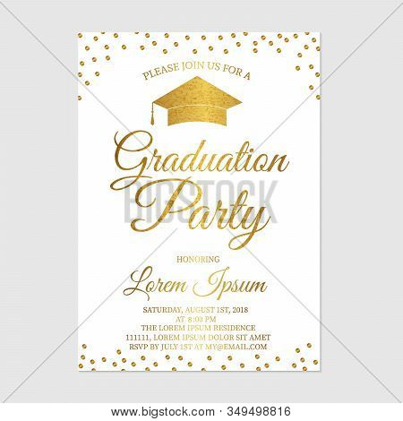 Graduation Party Invitation Card Template. Gold Glitter Polka Dots Grad Party Invite. Graduation Cel