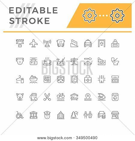 Set Line Icons Of Public Navigation Isolated On White. Editable Stroke. Vector Illustration