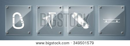 Set Skateboard, Skateboard Trick, Pegs For Tents And Carabiner. Square Glass Panels. Vector