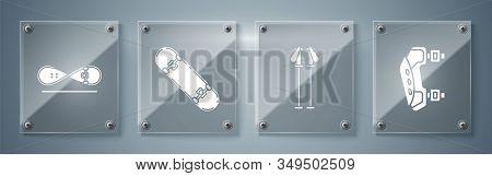 Set Knee Pads, Ski Poles, Skateboard Trick And Skateboard Trick. Square Glass Panels. Vector