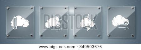 Set Windy Weather, Storm, Windy Weather And Thermometer And Cloud. Square Glass Panels. Vector